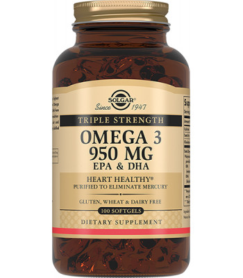 Solgar (Солгар) тройная Омега-3 950 мг ЭПГ и ДГК